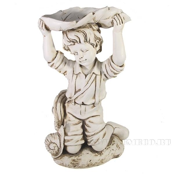 Фигура декоративна Мальчик под листом(антик) L21W15H25 см оптом