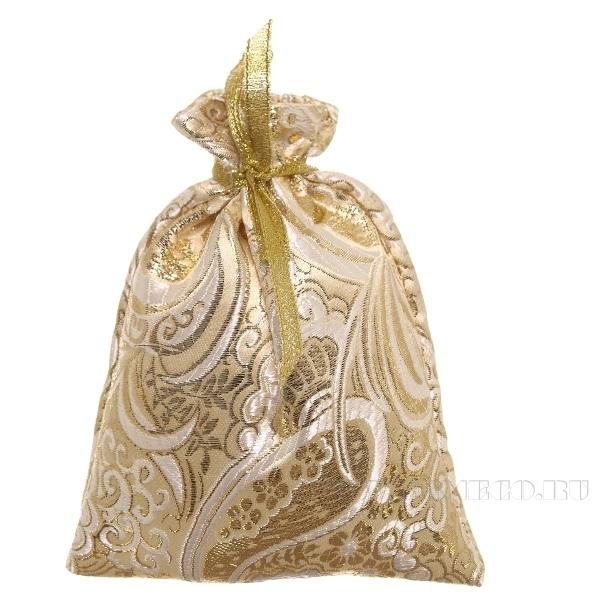 Мешок для подарков 15*12см (золотая парча) () оптом