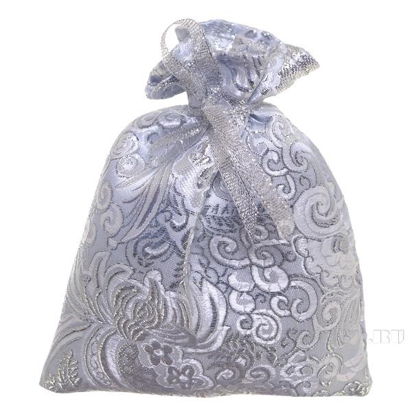 Мешок для подарков 15*12см (серебряная парча) () оптом