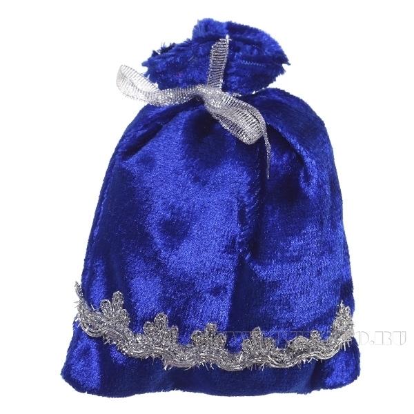 Мешок для подарков 15*12см (синий бархат) () оптом