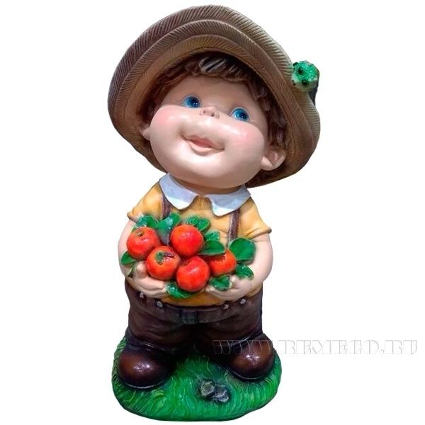 Фигура садовая декоративная Мальчик с яблоками L24W21H46 см оптом