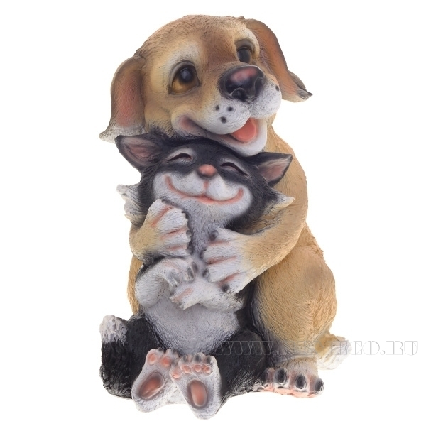 Фигура декоративная Собачка с кошкой L20W18H27 см оптом