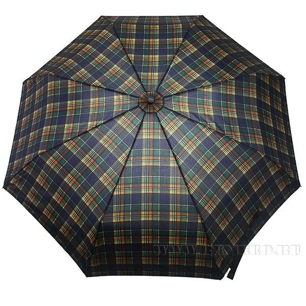 Зонт 2301 полный автомат, ручка-крюк (Шотландка темная) оптом