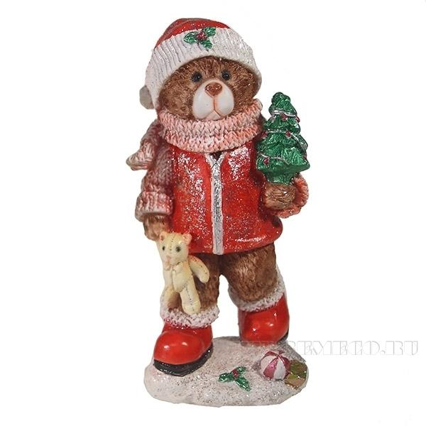 Фигура декоративная Мишка с елочкой (красный)L8W7H16см оптом