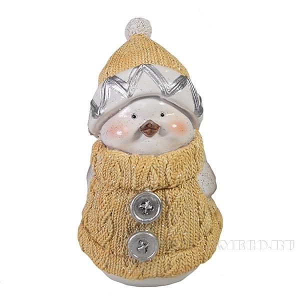Фигура декоративная Снегирь-мальчик (бежевый)L8W10H15см оптом