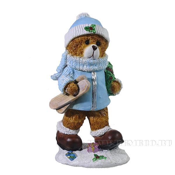 Фигура декоративная Мишка с лыжами(цвет голубой)L8W6H16см оптом