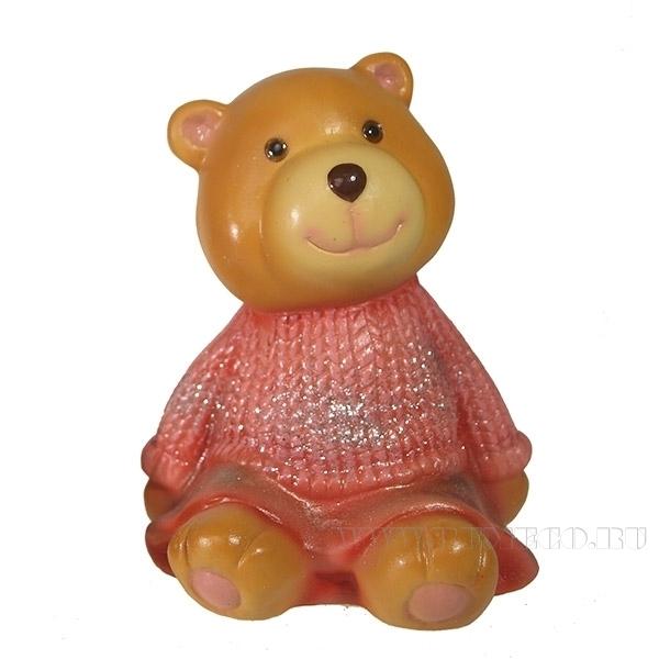 Фигура декоративная Мишка бежевый в красном свитере L10W11H14см. оптом