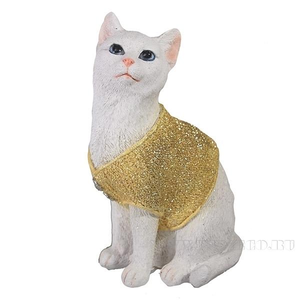 Фигура декоративная Кот в свитере золото L9W12H19см. оптом