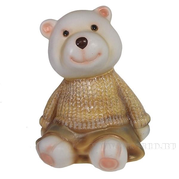 Фигура декоративная Медвежонок в золотом свитере L10W11H14см оптом