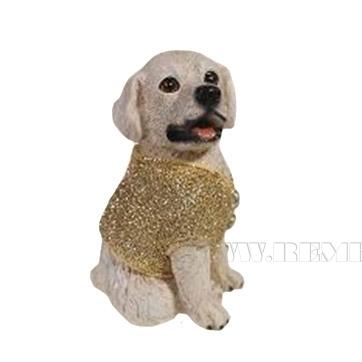 Фигура декоративная Щенок белый в золотом свитере 10х9,5х14,5 оптом