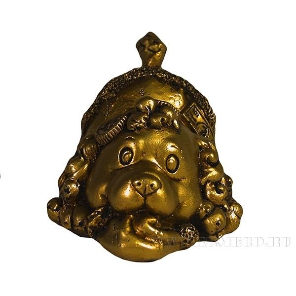 Фигура декоративная Щенок с монетами (золото) L8W10H7см оптом