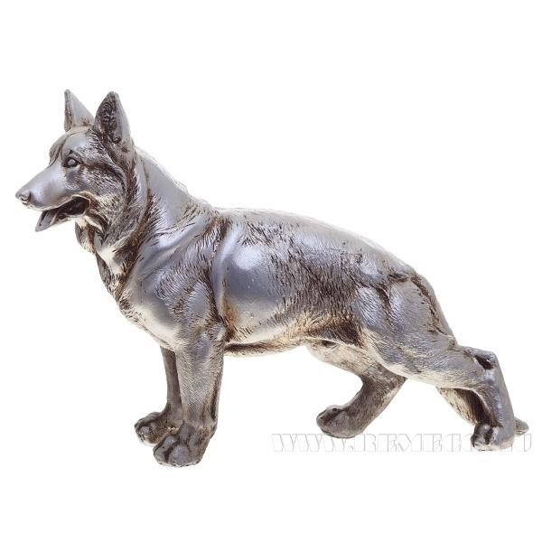 Фигура декоративная Немецкая овчарка(серебро))L18W4H12см. оптом