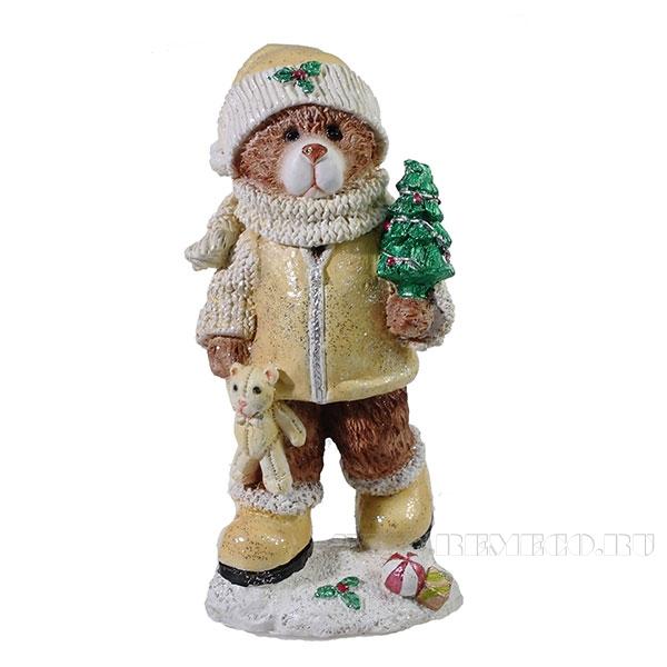 Фигура декоративная Мишка с елочкой (цвет бежевый)L8W7H16см оптом