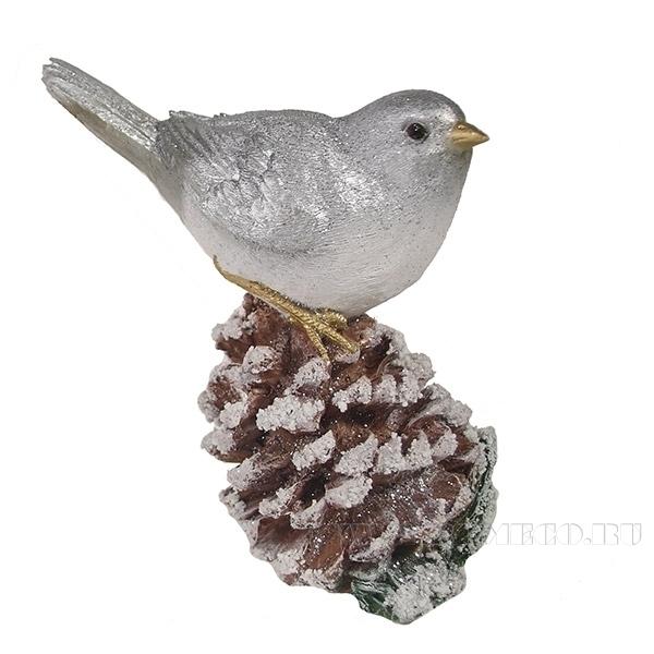 Фигура декоративная Птичка на шишке L6W11H13см оптом