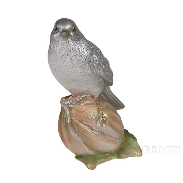 Фигура декоративная Птичка на орешке (серебро-золото)L8W8H16см. оптом