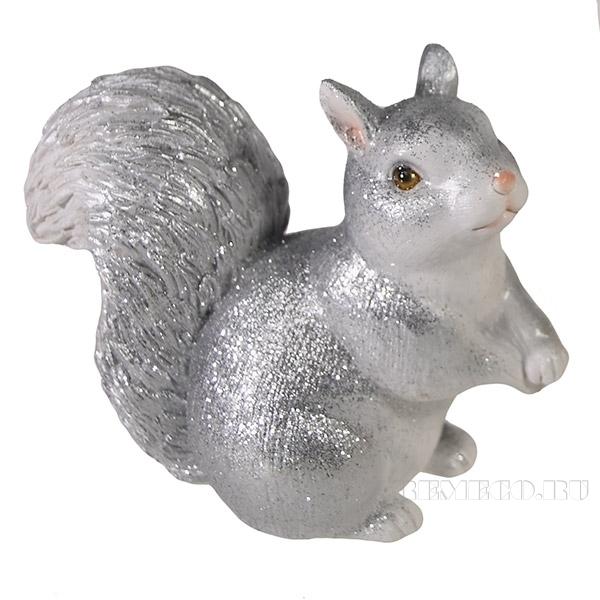 Фигура декоративная Белочка (серебро)L6W13H11см. оптом