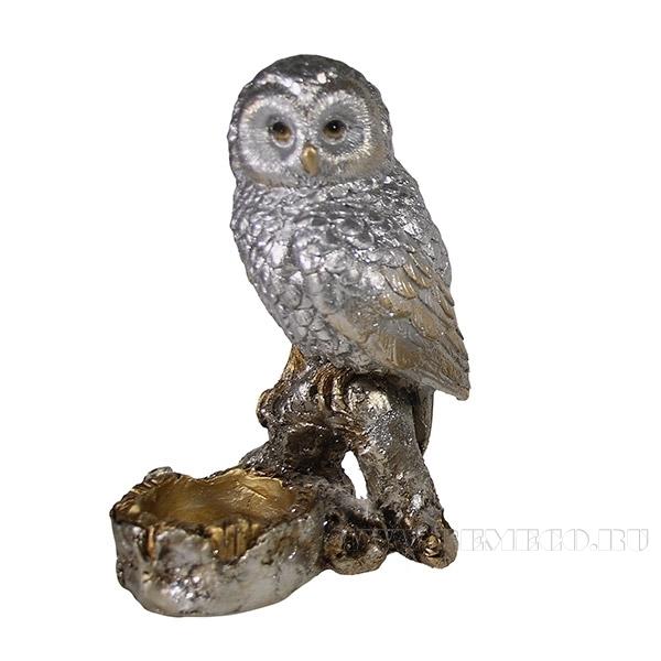 Фигура декоративная подсвечник Сова (серебро)L8W10H15см. оптом