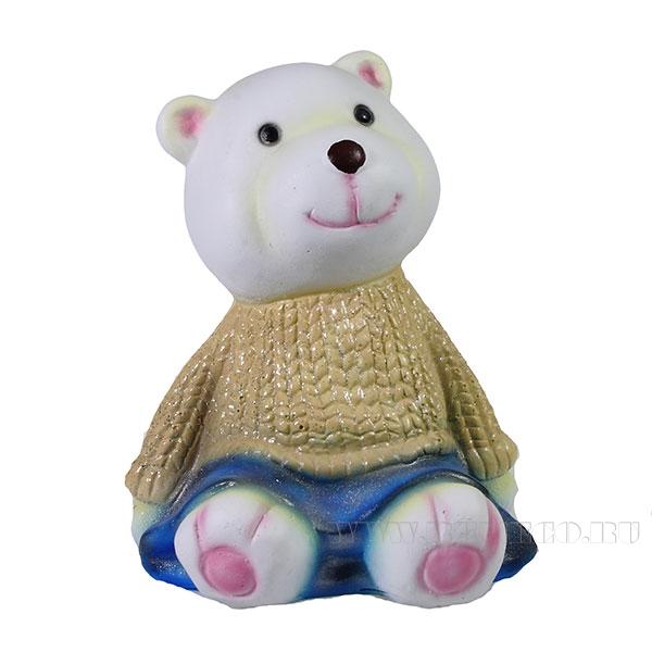 Фигура декоративная Мишка в золотом свитере L10W11H14см оптом