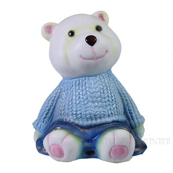 Фигура декоративная Мишка в синем свитере L10W11H14см оптом