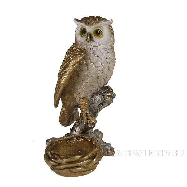 Фигура декоративная подсвечник Сова (золото)L9W9H15см. оптом