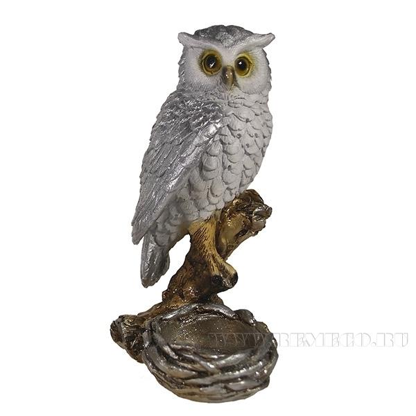 Фигура декоративная подсвечник Сова (серебро)L9W9H15см оптом