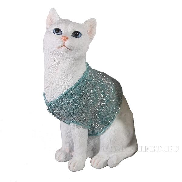Фигура декоративная Кот в свитере(голубой)L9W12H19см. оптом