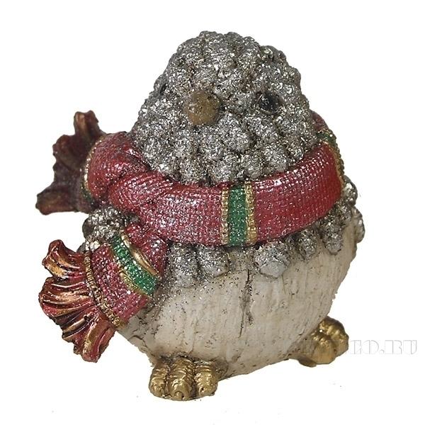 Фигура декоративная Воробей в шарфике (серебро) L12W9H9см. оптом