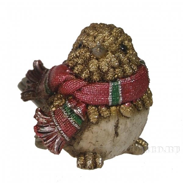 Фигура декоративная Воробей в шарфике (золото) L12W9H9см. оптом