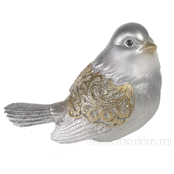 Фигура декоративная Красивая птичка (золото с серебром) L9W12H9см. оптом
