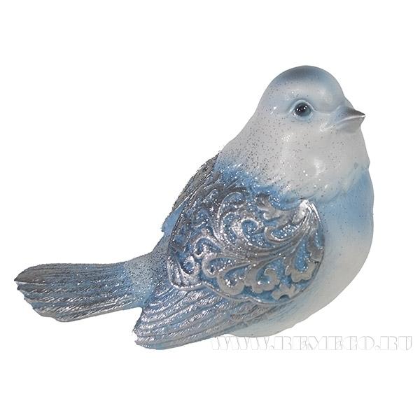 Фигура декоративная Красивая птичка (голубая) L9W12H9см. оптом