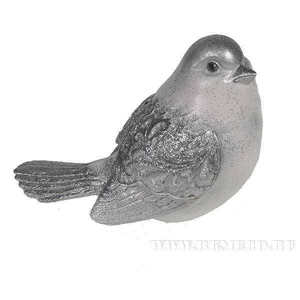 Фигура декоративная Красивая птичка (серебро) L9W12H9см. оптом