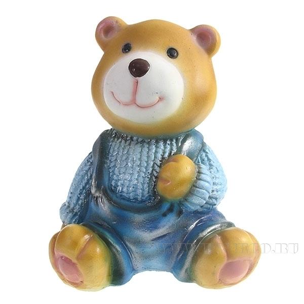 Фигура декоративная Медвежонок в синем свитереL10W11H14см оптом
