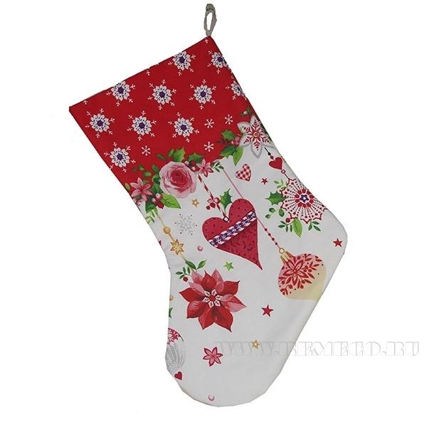 Носок для подарков «НГ гирлянда красная», высота 47см оптом
