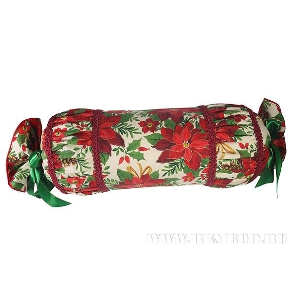 Подушка-валик «Пуансеттия»   бел. 55*15см оптом