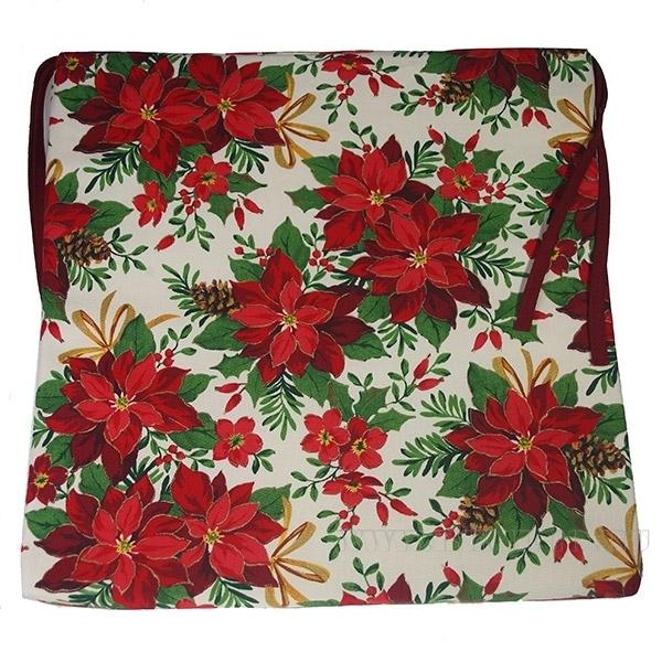Подушка  на сиденье «Пуансеттия бел.»  40*40см оптом