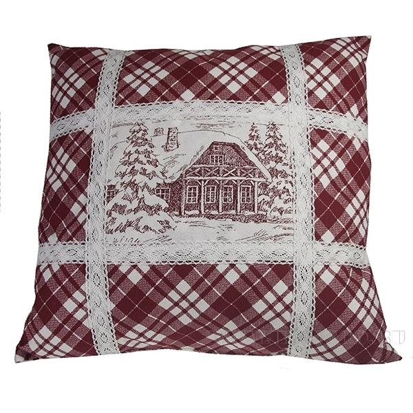 Подушка с кружевом «Зимний пейзаж» со съемной наволочкой 40*40см оптом
