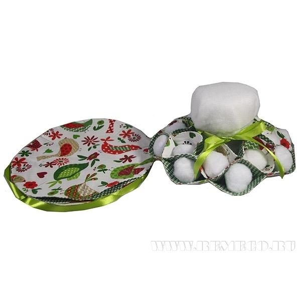 Подставка для кулича и пасх.яиц (на 8-16шт)  Птички зел., D28см () оптом
