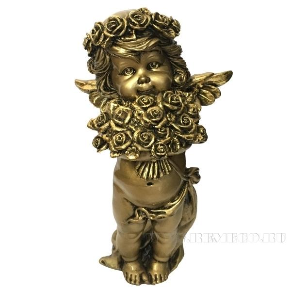 Фигурка декоративная Ангел с розами(цвет золото), L12,5W9Н22см оптом