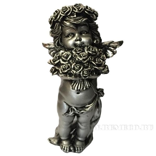 Фигурка декоративная Ангел с розами(цвет серебро), L12,5W9Н22см оптом