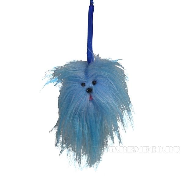 Новогоднее украшение Голубой щенок, диаметр 6см () оптом