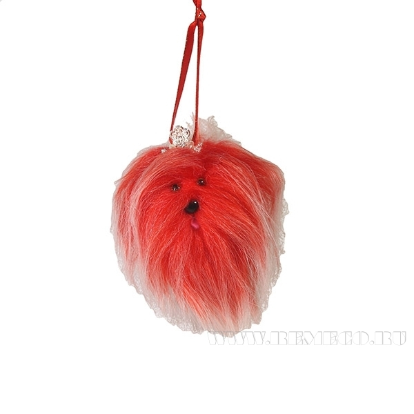 Новогоднее украшение Красная собачка, диам. 6см () оптом