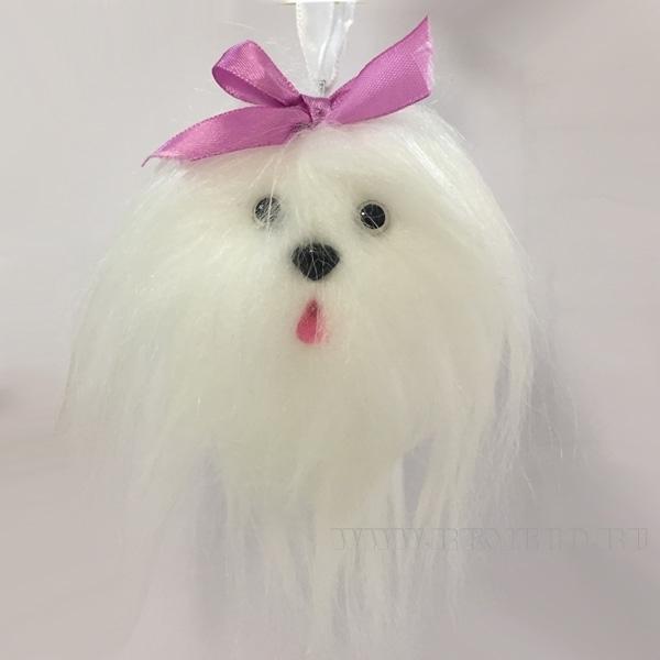 Новогоднее украшение Собачка белая, диаметр 6см () оптом