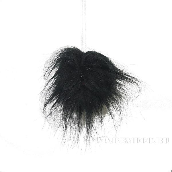 Новогоднее украшение Собачка черная, диаметр 6см () оптом