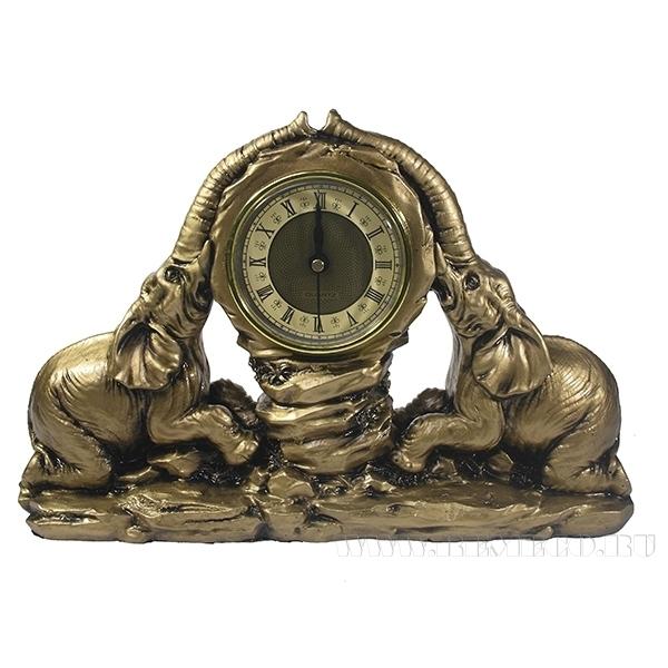 Композиция время Два слона(цвет золото)L30W7H20см оптом