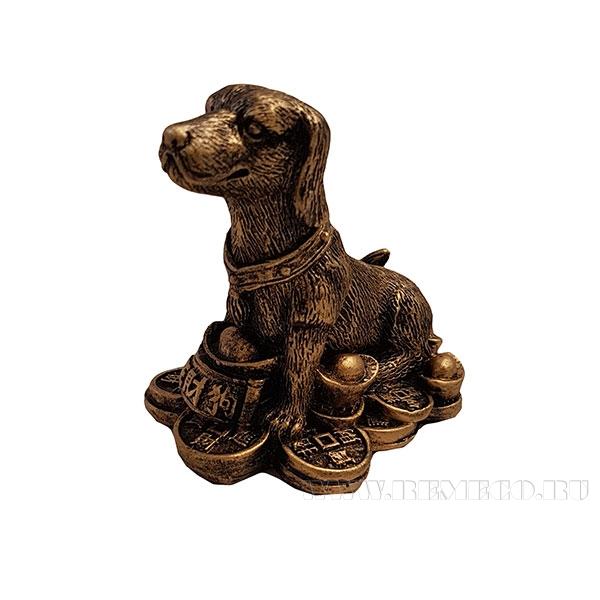 Фигура декоративная Собачка на монетах (цвет бронза)L7,5W5,5Н7 оптом