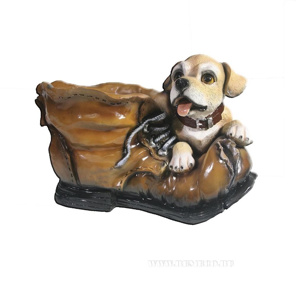 Кашпо декоративное Ботинок с собачкой L26W18H18 см оптом