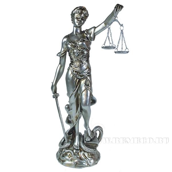 Фигурка декоративная Фемида (цвет серебро)L10W17H33 см оптом