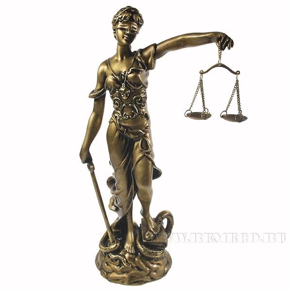 Фигура декоративная Фемида (cусальное золото) L10W17H33 см) оптом