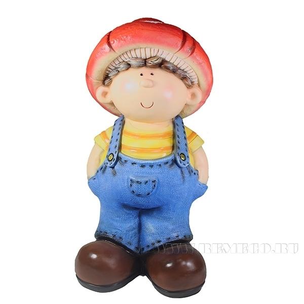 Фигура декоративная Мальчик-мухомор L24.5W23H50см оптом