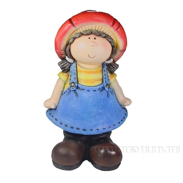 Фигура декоративная Девочка-мухоморL29W24.5H48см оптом